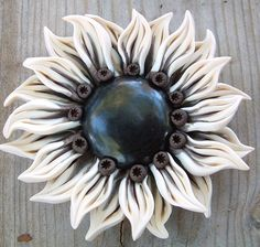 White and Brown Flower Pendant | by ZudaGay