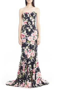 Love this. Dolce&Gabbana Floral Print Strapless Charmeuse Gown available at #Nordstrom