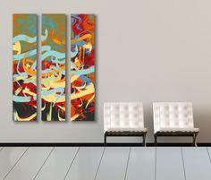 Triptych artwork by artist Khalid Shahin
