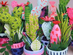 Paper Cacti: Illustrator Kim Sielbeck crafts bright coloured paper plants built to last Fun Crafts To Do, Crafts For Kids, Arts And Crafts, Diy Crafts, Sculpture Projects, Art Projects, Clay Sculptures, Paper Plants, Colored Paper