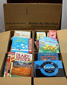 Boxed Children's Books - Books by the Foot - Each large Books by the Foot box is stuffed with children's books ranging from toddler to young adult. Only 10¢* per book, they make great donations to schools/libraries/crisis centers/etc or great inventory for brick & mortar stores, street vendors, flea markets, and some online sellers. They can also be used as instant school libraries, interior decorating, window dressings, AND MORE!