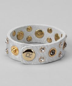 Take a look at this Silver & Gold Leather Bracelet by R U S H By DENIS & CHARLES on #zulily today!