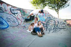 Family Skatepark Photos | Family Posing Ideas | Skateboard | Jeans and White Shirts | Leopard | Skatepark Alberta