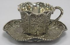 Goods from China- Silver Cup & Saucer Tea Cup Saucer, Tea Cups, Vintage Silver, Antique Silver, Café Chocolate, Vases, Cuppa Tea, Bronze, Teapots And Cups