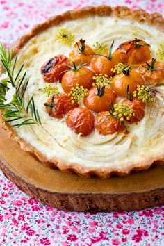 Cherry tomato, onion, and gruyère tart.