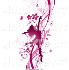 flowers clip art | Mood Clip Art of a Silhouetted Pink Dancing Woman Prancing on a ...