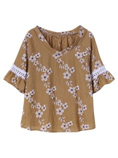 Description:  Material:Polyester Style:Elegant,Casual Collar:O-neck Pattern:Floral Printed Color:Bule,Khaki Sleeve Length:Short Sleeve Season:Summer Occasion:Daily Casual    Package included:  1*T-Shirts