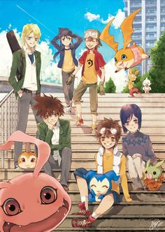 The lead boys and their rivals/best friends from Digimon Adventure, 02, and Frontier