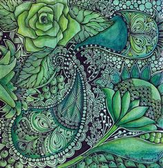 Green #zentangle by... For my  handmade greeting cards visit me at My Personal blog: http://stampingwithbibiana.blogspot.com/