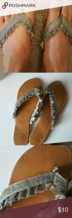 Fancy flip flops Super cute. Good conditon. Light wear. Size 8. Too small for me :( Shoes Sandals