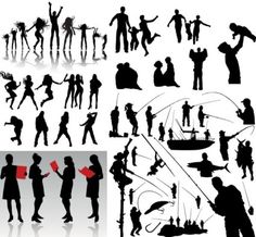 dynamic figures silhouette vector