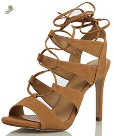 056442dd12 Delicious Women's Heather Gladiator Lace Up Open Toe Strappy Ankle Wrap  High Heel Pump, Tan