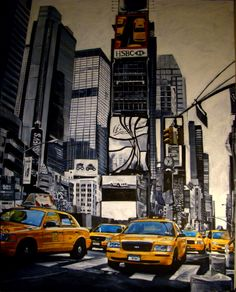 acrilyc on canvas, time square , taxi taxi. New York Taxi, David, Viera, Times Square, Canvas, Travel, Closed Doors, Art, Paintings