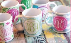 Our 12 oz monogrammed coffee mugs are the preppiest way to enjoy your cup of joe. Double expresso, please...your custom personalization is featured on both sides of our monogram mugs so your monogram is visible on your mug no matter which way you hold the handle. Our adorable monogrammed coffee mugs are top rack dishwasher and microwave safe but are dangerously cute so please sip with caution. We are not responsible for cold coffee due to a...
