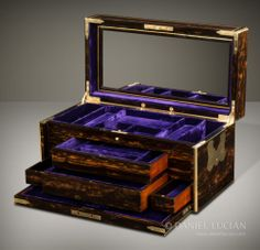 Antique Coromandel Jewellery Jewelry Box with 4 Concealed Drawers by Leuchars | eBay