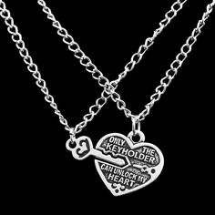Vintage Heart Lock Key Lover only The Keyholder Can Unlock My Heart Couple Necklace Lover font