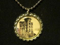 Spooky Haunted Place Bottle Cap Necklace or Key by AdAstraEmporium, $6.00