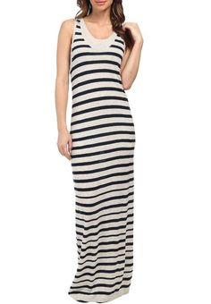 NWT $158 Splendid Gray Navy Striped Sweater Knit Maxi Tank Dress L Large #Splendid #MaxiSweaterDress #Casual