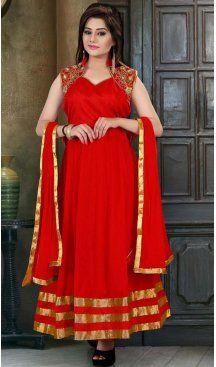 Red Color Georgette Long Anarkali Salwar Kameez | FH586686358