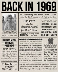 Back in 1969 Sign, Personalised 1969 Newspaper Poster with Photo, Last Minute Birthday Gift, DIGITAL FILE, 50 Years Ago History Back in 1969 Print Personalised 1969 Newspaper Poster with 50th Party, 50th Birthday Gifts, 50th Birthday Ideas For Women, Birthday Quotes, Wife Birthday, Birthday Images, Happy Birthday, Diy 50th Birthday Decorations, Fiftieth Birthday