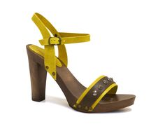 Hand craft high heel sandals in yellow Calf leather - Italian Boutique €72