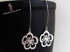 SALE 10 OFF Sakura flower drop earrings in by Thedandelionjewelry, $22.00