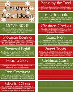Free Printable Christmas Countdown Activity Jar. Just print, cut apart, and stick in a jar. Perfect for counting down to Christmas. Don't forget any important traditions with the blank activity cards you fill in yourself!