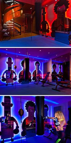 In this modern boxing gym there are custom-designed backlit mirrors are shaped like figures of famous boxers, while colorful lighting helps to keep the space vibrant.
