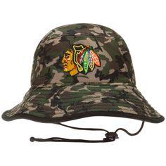 Chicago Blackhawks Camo Primary Logo Bucket Hat by New Era #Chicago #ChicagoBlackhawks #Blackhawks