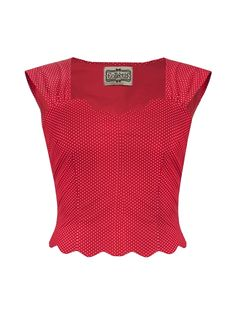 Dana R Retro Lola Micro Polka Dot Top In Red