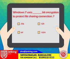 Windows 7 uses _______ bit #encryption to protect file sharing connection. ? #Quiz #Update #Jetking #Shivajinagar #Bangalore #Career #JetkingInstitute #iamJetking #India