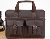 Handcrafted Genuine Leather Business Briefcase Laptop Messenger Satchel
