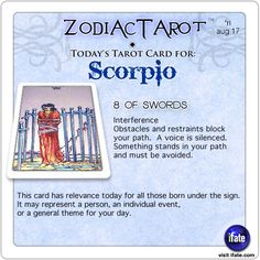 Daily tarot card for Scorpio from ZodiacTarot! Your sun sign (horoscope) only tells part of the story.  For a complete reading, you need a birth chart reading.   Visit iFate.com today!