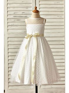 A-line Ankle-length Flower Girl Dress - Tulle Sleeveless Jewel with - USD $53.99
