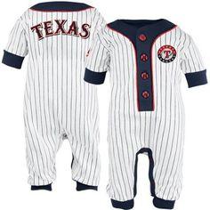 Majestic Texas Rangers Infant White Pinstripe Coveralls