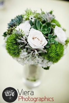 Green, grey and white bouquet.