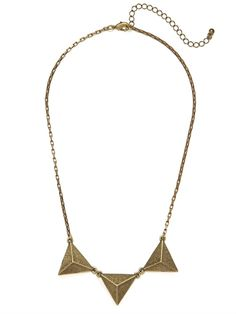Delight in the simple geometrics of this charming necklace, which features a trio of triangle accents. The look is clean, minimal and totally street-chic.