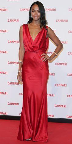 Look of the Day - Zoe Saldana wearing a silky dress by Alberta Ferretti