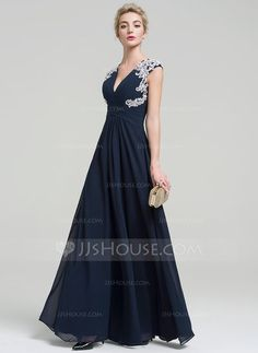 A-Line/Princess V-neck Floor-Length Appliques Lace Zipper Up Cap Straps Sleeveless No Dark Navy Spring Summer Fall General Plus Chiffon Height:5.7ft Bust:33in Waist:24in Hips:34in US 2 / UK 6 / EU 32 Evening Dress