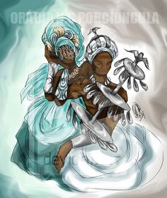Yeye Yemoja and her husband Baba Obatala Orisha, African Culture, African History, African Mythology, Yoruba People, African Artists, North And South America, Mermaid Art, Simple Art