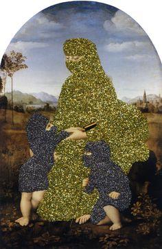 "Ecstasy glitter on found print 2010 8"" x 5.25"""