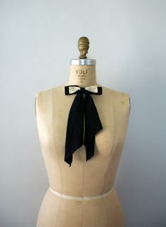 Vintage 1950s clip on Necktie  50s Black Rayon by Sweetbeefinds, $26.00