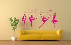 "Is dance a part of your life? Then check out our Dancing ballerinas wall decal, ready to piroutte, leap, and pleat on your walls! Arrange them however you like! Comes in two colors- pink or brown! FREE SHIPPING!!! Size : each ballerina is aproximately 22"" tall x 9"" wide. transformyourwall.com - Dancing ballerinas wall decal, $54.99 (http://www.transformyourwall.com/dancing-ballerinas-wall-decal/)"
