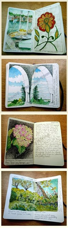 """Vacations in France"" Moleskine sketchbook journal, vol. 2 Summer 2008  `  by Judith Nijholt-Strong     ( http://kats-in-klompen.blogspot.ca/2008/09/vacations-in-france-moleskine.html )"