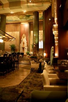 interior of the Netherland Hilton. Stunning example of French Art Deco; model for Empire State Building