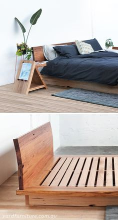 Made from entirely recycled timber in Melbourne. Yard Furniture, Timber Furniture, Bedroom Furniture, Furniture Design, Bedroom Decor, Furniture Layout, Furniture Sets, Timber Bed Frames, Timber Beds