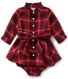 Ralph Lauren Childrenswear Baby Girls 3-24 Months Plaid Flannel Shirtdress https://presentbaby.com