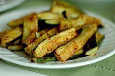 Spicy Baked Zucchini Wedges: 2-3 medium zuccini, olive oil, cumin, cayenne, salt, pepper, paprika, garlic, onion powder. 400degrees ~15min