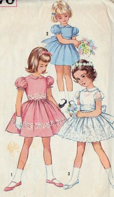 1960s Girls Summer Party Dress Vintage Sewing Pattern, Pageant Dress, Flower Girl Dress, Simplicity 4870 Size 3