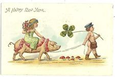 1907 A Happy New Year Girl rides a Pig Postcard